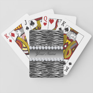 Black Faux Foil Zebra Stripes on Silver Playing Cards