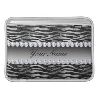 Black Faux Foil Zebra Stripes on Silver Sleeve For MacBook Air