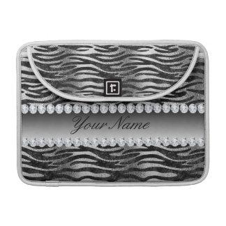 Black Faux Foil Zebra Stripes on Silver Sleeve For MacBook Pro