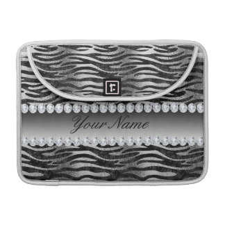 Black Faux Foil Zebra Stripes on Silver Sleeve For MacBooks