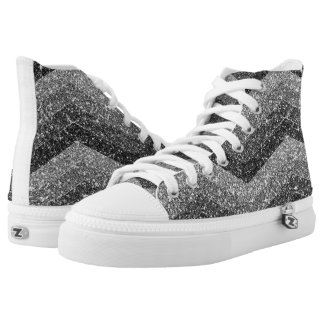 Black Faux Glitter Bling Chevron Ombre High Tops