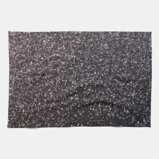 Black faux glitter graphic towels