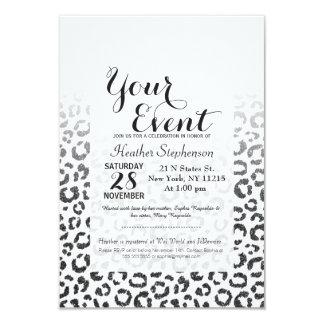Black Faux Glitter Leopard Print Gradient Card
