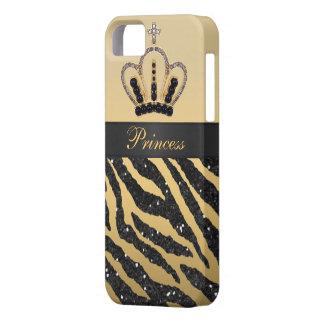 Black Faux Glitter Zebra Print & Jewel Crown iPhone 5 Covers