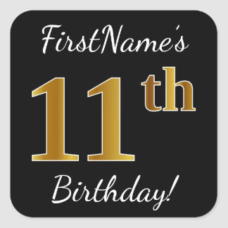 Black, Faux Gold 11th Birthday + Custom Name Square Sticker