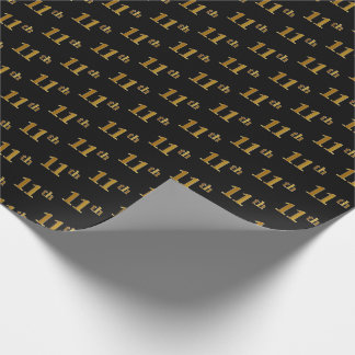 Black, Faux Gold 11th (Eleventh) Event Wrapping Paper