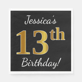 Black, Faux Gold 13th Birthday + Custom Name Disposable Napkin