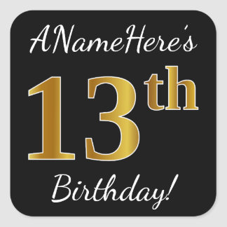 Black, Faux Gold 13th Birthday + Custom Name Square Sticker