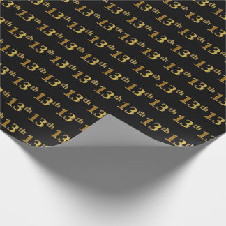 Black, Faux Gold 13th (Thirteenth) Event Wrapping Paper