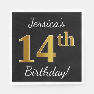 Black, Faux Gold 14th Birthday + Custom Name Disposable Napkins
