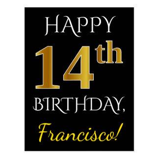 Black, Faux Gold 14th Birthday + Custom Name Postcard