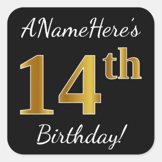 Black, Faux Gold 14th Birthday + Custom Name Square Sticker
