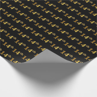 Black, Faux Gold 14th (Fourteenth) Event Wrapping Paper