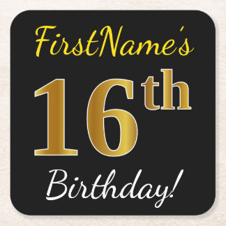 Black, Faux Gold 16th Birthday + Custom Name Square Paper Coaster