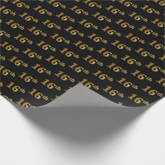 Black, Faux Gold 16th (Sixteenth) Event Wrapping Paper