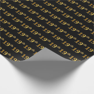 Black, Faux Gold 19th (Nineteenth) Event Wrapping Paper