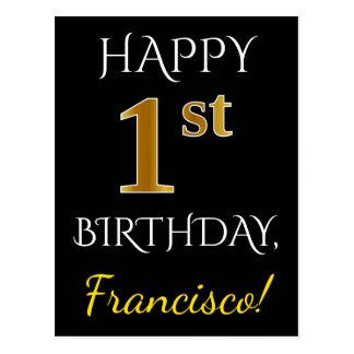 Black, Faux Gold 1st Birthday + Custom Name Postcard