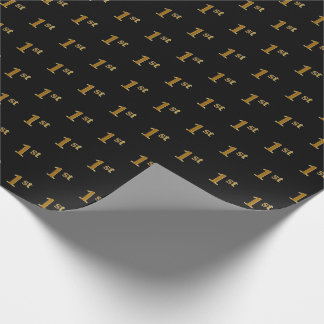 Black, Faux Gold 1st (First) Event Wrapping Paper