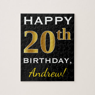Black, Faux Gold 20th Birthday + Custom Name Jigsaw Puzzle