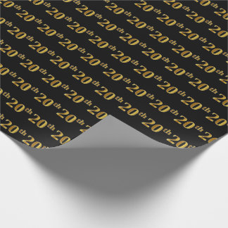 Black, Faux Gold 20th (Twentieth) Event Wrapping Paper