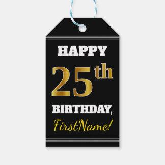 Black, Faux Gold 25th Birthday + Custom Name Gift Tags