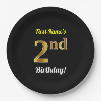 Black, Faux Gold 2nd Birthday + Custom Name Paper Plate