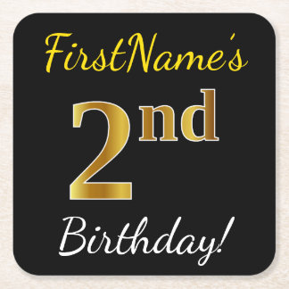 Black, Faux Gold 2nd Birthday + Custom Name Square Paper Coaster