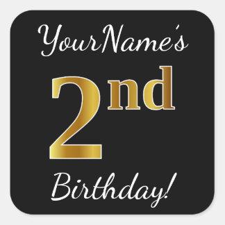 Black, Faux Gold 2nd Birthday + Custom Name Square Sticker