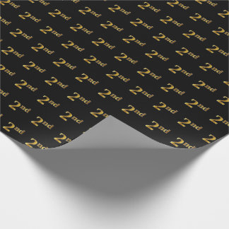 Black, Faux Gold 2nd (Second) Event Wrapping Paper