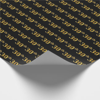 Black, Faux Gold 30th (Thirtieth) Event Wrapping Paper