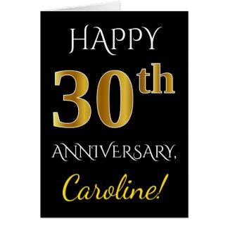Black, Faux Gold 30th Wedding Anniversary + Name Card