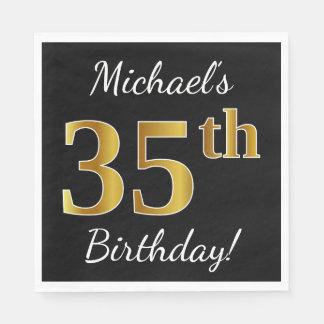 Black, Faux Gold 35th Birthday + Custom Name Paper Napkins