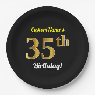 Black, Faux Gold 35th Birthday + Custom Name Paper Plate
