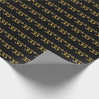 Black, Faux Gold 35th (Thirty-Fifth) Event Wrapping Paper