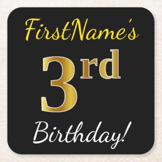 Black, Faux Gold 3rd Birthday + Custom Name Square Paper Coaster