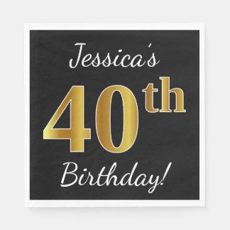 Black, Faux Gold 40th Birthday + Custom Name Paper Napkins