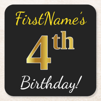 Black, Faux Gold 4th Birthday + Custom Name Square Paper Coaster