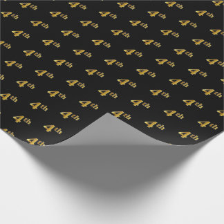 Black, Faux Gold 4th (Fourth) Event Wrapping Paper