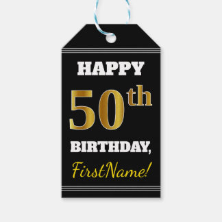 Black, Faux Gold 50th Birthday + Custom Name Gift Tags