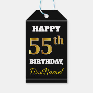Black, Faux Gold 55th Birthday + Custom Name Gift Tags