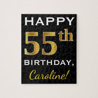 Black, Faux Gold 55th Birthday + Custom Name Jigsaw Puzzle