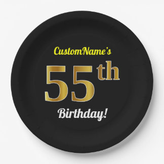 Black, Faux Gold 55th Birthday + Custom Name Paper Plate