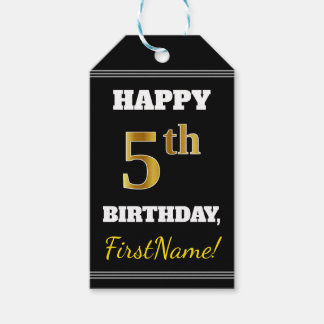 Black, Faux Gold 5th Birthday + Custom Name Gift Tags