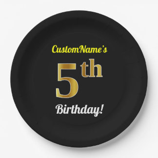 Black, Faux Gold 5th Birthday + Custom Name Paper Plate