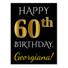 Black, Faux Gold 60th Birthday + Custom Name Postcard