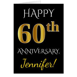 Black, Faux Gold 60th Wedding Anniversary + Name Card