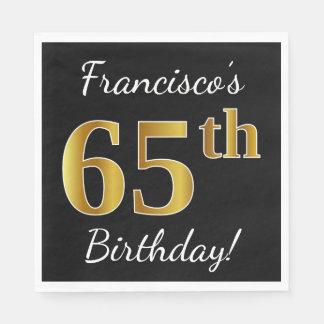 Black, Faux Gold 65th Birthday + Custom Name Paper Napkins
