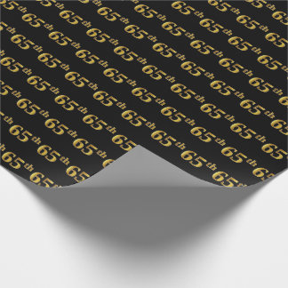 Black, Faux Gold 65th (Sixty-Fifth) Event Wrapping Paper