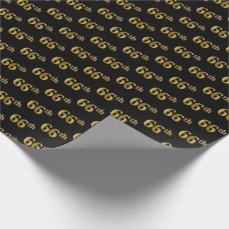Black, Faux Gold 66th (Sixty-Sixth) Event Wrapping Paper