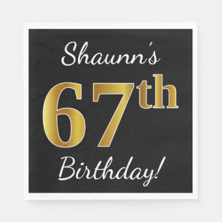 Black, Faux Gold 67th Birthday + Custom Name Paper Napkins